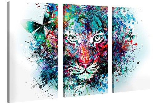 Gallery of Innovative Art - Tiger Artwork - 120 x 80 cm - XXL Tela-Immagini Stampa in qualità di Marca Tedesca - Tela su Cornice in Legno Come Decorazione Moderna Salotto