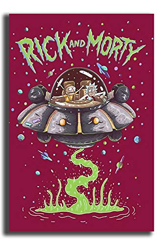 """Coobal Rick and Morty Blacklight Poster 3D Hand-Painted Bedroom Bathroom Home Office Living Room Decorations 12""""x16"""""""