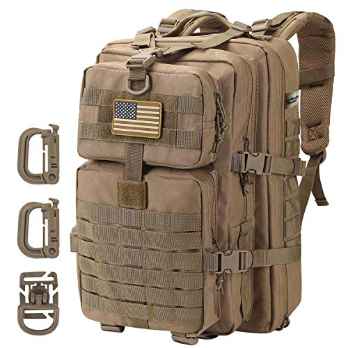 Hannibal Tactical 36L MOLLE Assault Pack, Tactical Backpack Military Army Camping Rucksack, 3-Day Pack Trip w/USA Flag Patch, D-Rings, Coyote