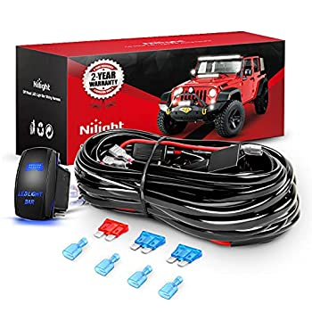 Nilight 10011W 16AWG Wiring Harness Kit-2 Leads LED Light Bar 12V On/Off 5 Pin Rocker Switch Power Relay Blade Fuse for Jeep Boat Trucks 2 Years Warranty