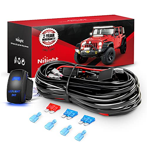Nilight 10011W 16AWG Wiring Harness Kit-2 Leads LED Light Bar 12V On/Off 5 Pin...