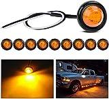 Gebildet 10pcs Rotonde LED Luci di Posizione Laterali, Luci di Posizione o d'ingombro per la Parte Frontale,per Auto e Camion(Ambra)