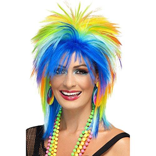Amakando Perruque Arc-en-Ciel Punk Carnaval Faux Cheveux pour Femme Années 80 Bad Taste Party Punkette Costume Accessoire