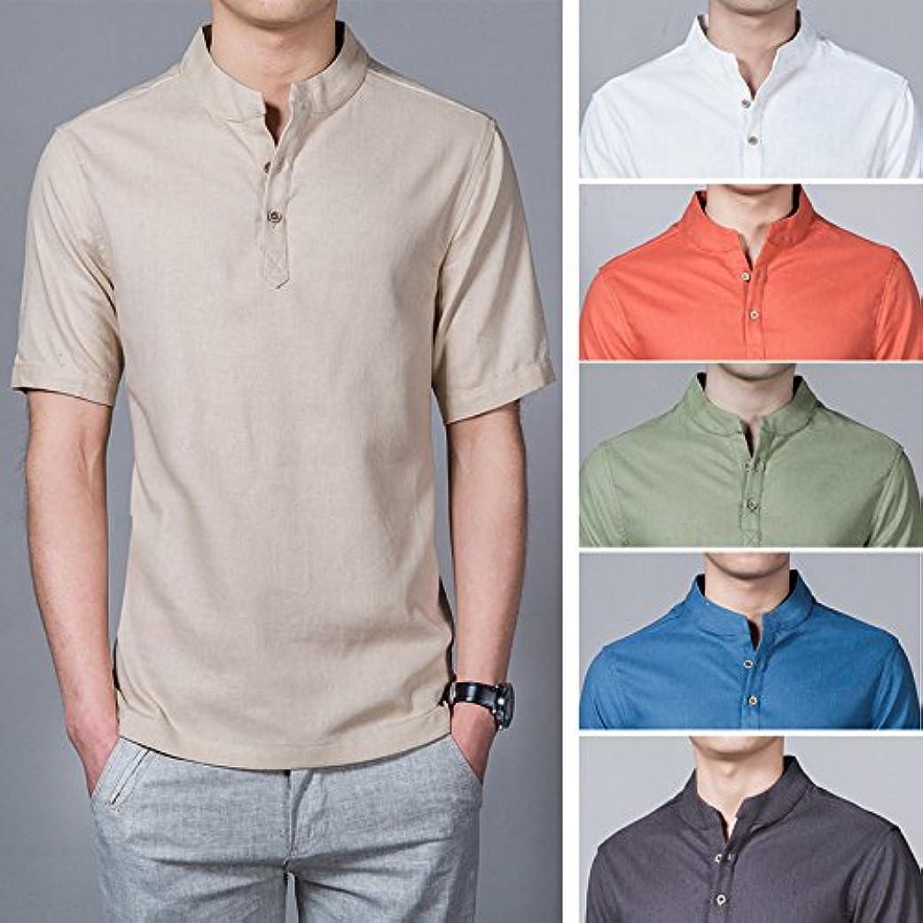 数学的な繊維警告規格品のオリジナル亜麻シャツ卸日韓清新半袖麻綿男装詰め襟コードワイシャツ潮