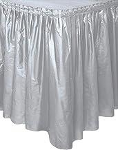 "Silver Plastic Table Skirt, 29"" x 14 ft."