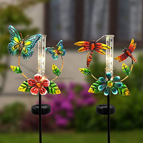 ALLADINBOX 2 Set 30inch Solar Powered Metal Rain Gauge Butterfly and Gragonfly with Replacement Tube Glass for Garden Yard Deck Outdoors Fence Decoration