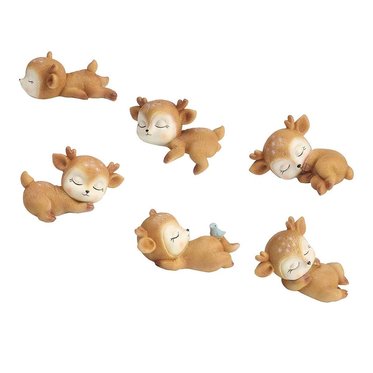 原点コテージ煩わしい鹿モデル 動物モデル 樹脂製ドールハウス飾り 6個セット ミクロ風景 盆栽装飾 置物