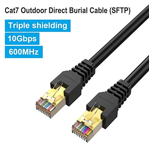 Outdoor Ethernet 75ft Cat7 Cable, PHIZLI Shielded Grounded UV Resistant Waterproof Buried-able Network Cord SFTP 10 Gigabit 600MHz with OFC for Modem, Router, LAN, CCTV, Computer- Compatible