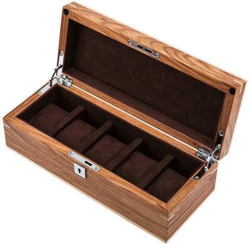 N/Z Home Equipment 5-Slot Uhr Display Aufbewahrungsbox Holz Soft Flocking Futter Innen Showcase Organizer mit Metallschloss