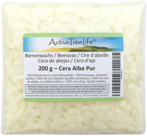 Bienenwachs Pastillen Bio, weiß, 200 g, für Kosmetik Kerzen Cremes Salben Seifen