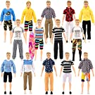 SOTOGO 27 Pieces Kens Clothes and Accessories for 12 Inch Boy Doll Include 12 Sets Doll Clothes/Casual Clothes/Career Wear Clothes/Jacket Pants Outfits, 4 Pairs Shoes and Surfboard