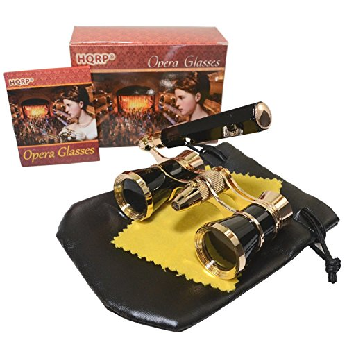 HQRP Opera Glasses Black Color w/Built-in Elegant Black Extendable Handle with Golden Trim in HQRP Gift Box