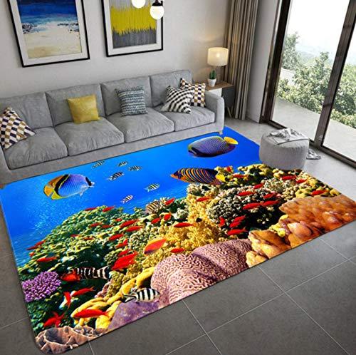 QNYH Sala De Estar Sofá Alfombra Grande, Coloridos Peces De Coral Bajo El Agua, Impresión 3D, Sala De Juegos Infantil, Alfombra para Bebés Y Niños Pequeños 120x160cm