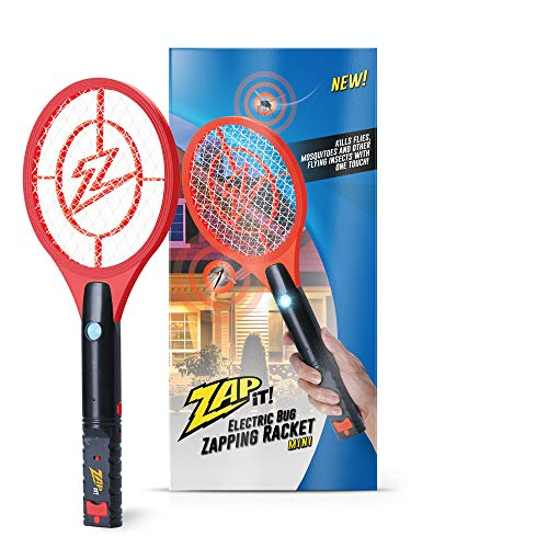 ZAP IT! Bug Zapper Rechargeable Mosquito, Fly Killer and Bug Zapper Racket - 4,000 Volt - USB Charging, Super-Bright LED Light to Zap in The Dark - Safe to Touch (Mini, Red)