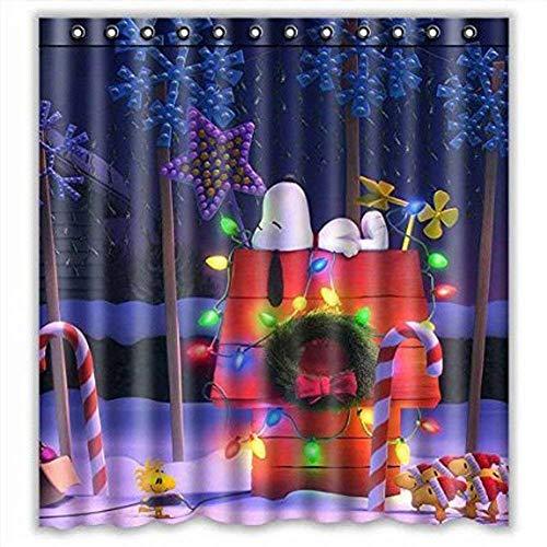 Pxh Snoopy Duschvorhang, Peanuts wasserdichter Badezimmer-Duschvorhang aus Polyestergewebe, Heimdekoration (Farbe 1)