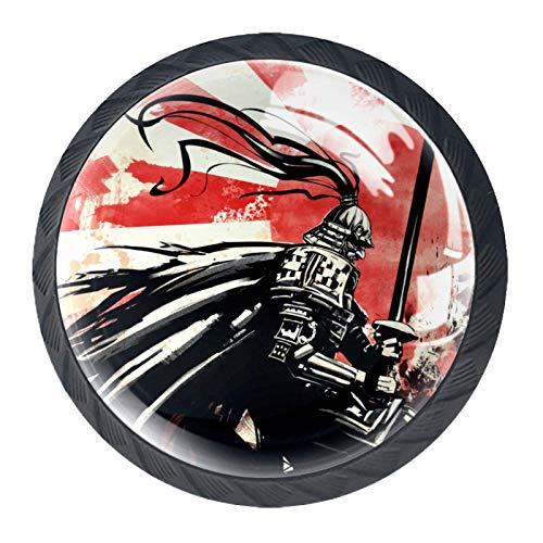Manijas de cajón tirar de vidrio redondo de cristal para el hogar, cocina, tocador, armario, samurai, katana, rojo, atardecer