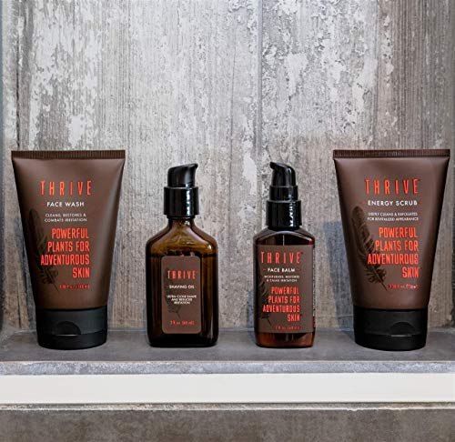 Thrive VIP Men's Grooming Kit – 4 Piece Grooming Gift Set to Wash, Exfoliate, Shave, and Moisturize Daily; Gift for Men Made with Organic & Unique Premium Natural Ingredients for Healthier Skin Care