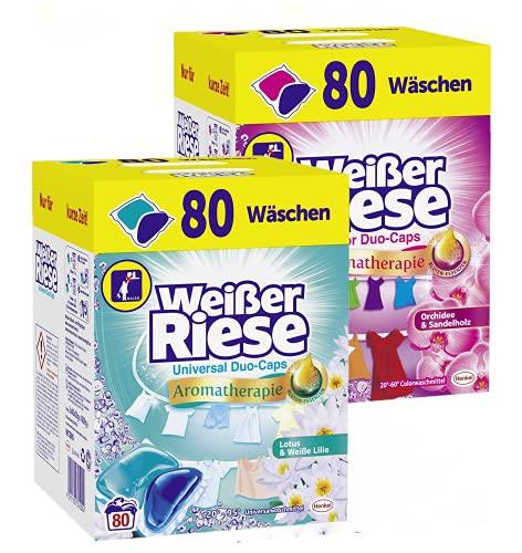 Weißer Riese Universal + Color Duo-Caps, Colorwaschmittel + Universalwaschmittel 160 (2x 80) Waschladungen extra stark gegen Flecken