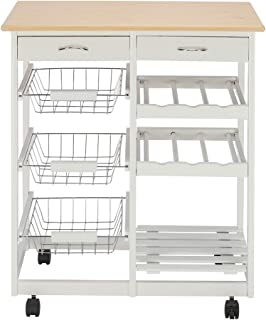 Multifunctional Moveable Kitchen Trolley Cart with Two Drawers &Two Wine Racks & Three Baskets For Storage