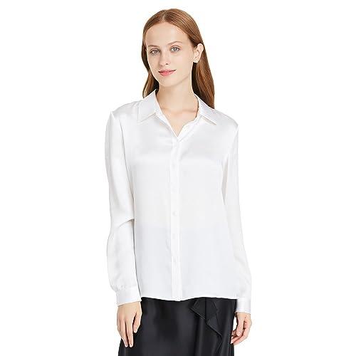 05ef42cc9da414 LilySilk Women's 100 Silk Shirts Long Sleeve Pure 22 Momme Charmeuse Button  Down Elegant Ladies Tops