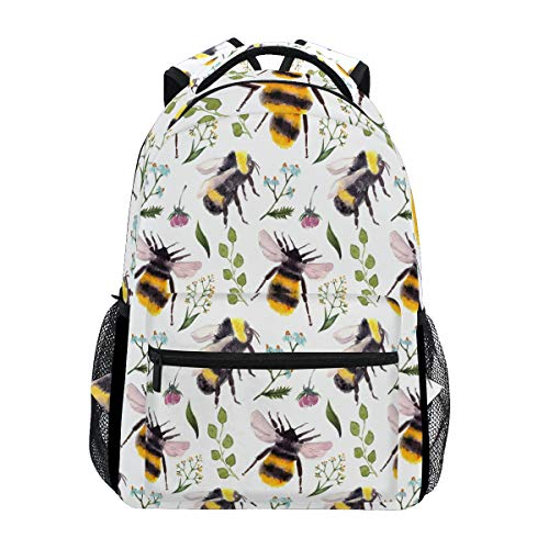 Watercolor Bumble Bee Backpack Waterproof School Shoulder Bag Gym Backpack, Leaves Insect Laptop Bag Outdoor Travel Bag For Kids Boys Girls Women Men