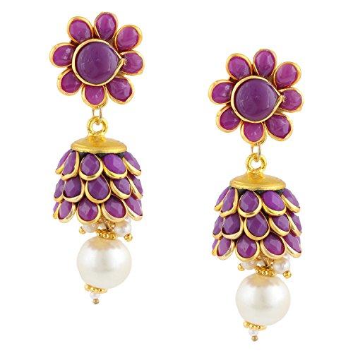 Gold Tone Indian Bollywood Ethnic Designer Purple Pachi Jhumka Jhumki Earrings Jewellery for Girls/Women