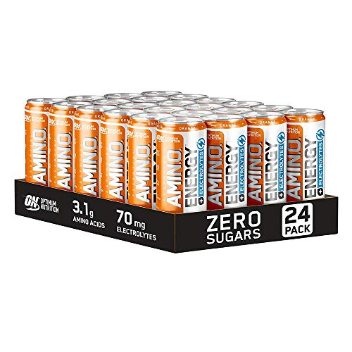 Optimum Nutrition ON Essential Amino Energy + Electrolytes, Sugar Free Energy Drink with Electrolytes and Caffeine, Orange, 24 Pack, 250 ml