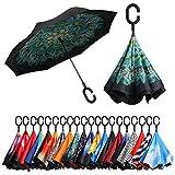 Amazon Brand - Eono Paraguas Invertido de Doble Capa, Paraguas Plegable de Manos Libres Autoportante,Paraguas a Prueba de Viento Anti-UV para la Lluvia del Coche al Aire Iibre - Pavo Real