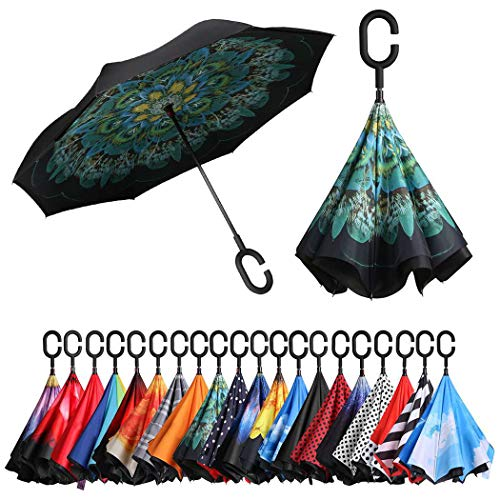 Eono by Amazon - Double Layer Inverted Umbrellas Reverse Folding Umbrella Self-Standing Windproof UV Protection Big Straight Travel Umbrella for Car Rain Outdoor with C-Shaped Handle, Peacock