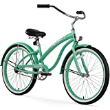 Firmstrong Bella Fashionista 3-Speed Beach Cruiser Bicycle, 26-Inch, Gloss Black/Green Rim