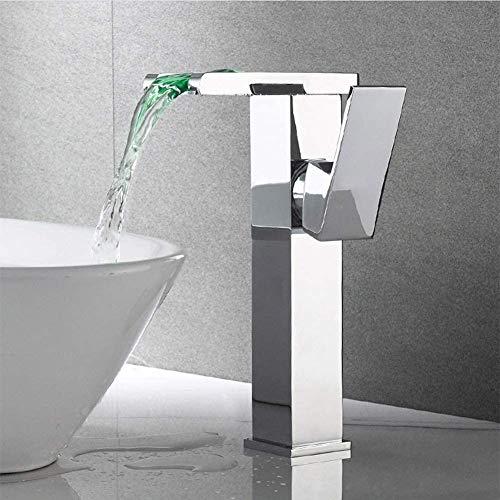 Todo el cuerpo de cobre lavabo negro grifo de agua fría y caliente tipo cascada sobre encimera lavabo lavabo baño latón orificio único (B)