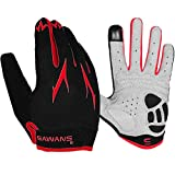 Cycling Gloves Full Finger Mountain Bike Gloves Padded Breathable Touchscreen MTB Road Biking Gloves for Men Women Camping,Cycling,Running (Red, XL)