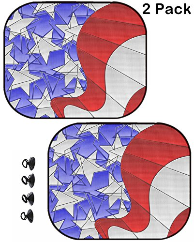 MSD Car Sun Shade Protector Side Window Block Damaging UV Rays Sunlight Heat for All Vehicles, 2 Pack Image ID: 6790366 Stained Glass American Flag