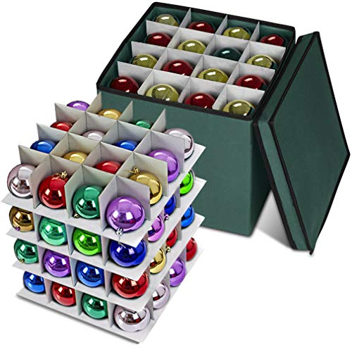 ProPik Xmas Ornament Storage Box, 4 Tier Holds Up to 64 Holiday Ornaments Decoration Balls, Storage Container with Dividers, Made with Durable 600D Oxford Polyester Material (Green)