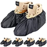 LINKEASE Reusable Boot & Shoe Covers Water Resistant Non Skid and Washable for Real Estate Contractors to Keep Floors Carpets Footwear and Rooms Clean - 5 Pairs (Medium, Black)