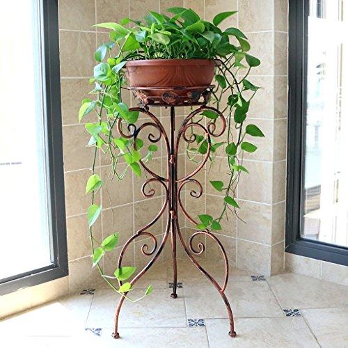 balcon voyantes Fer forgé fleur étagère étage balcon pot rack intérieur et extérieur salon vert jonquilles orchidée plante décoration Plantes d'extérieur Présentoir ( Couleur : Marron )