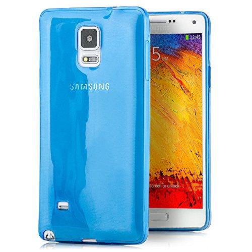 Samsung Galaxy Note 4 Custodia Cover [zanasta] Case in Silicone TPU Ultra Slim Back Cover Sottile Gel Transparente Blu