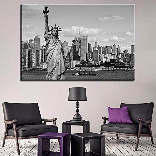 LZASMMVP Stampe su Tela HD Pittura Decorativa per la casa 1 Pezzi Statua della libertà Wall Art Immagini modulari Comodino Sfondo Opera d'Arte Poster | 60x80 cm Senza Cornice