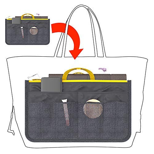 bottlewise Handbag Organiser Insert Expandable Liner Bag Pouch Zipper Closure Tote Cosmetic Travel Bag with Handle (Gray)