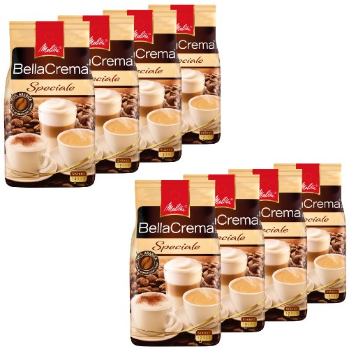 Melitta Kaffee BellaCrema Speciale ganze Bohne, milde Kaffeebohnen, 8er Pack, 8 x 1000g