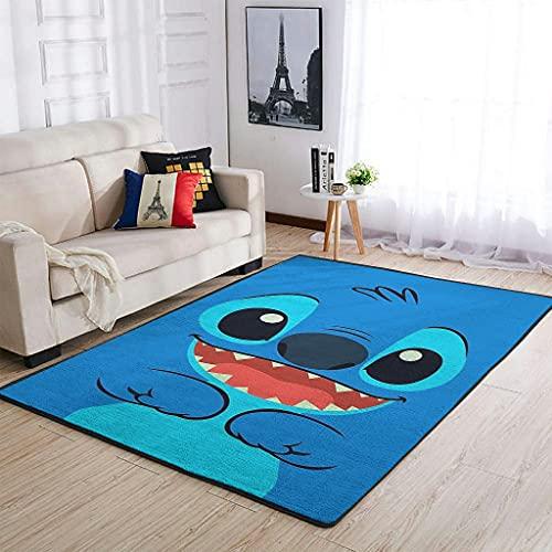 Hothotvery Alfombra con estampado de puntadas azules, para pasillo, color blanco, 122 x 183 cm