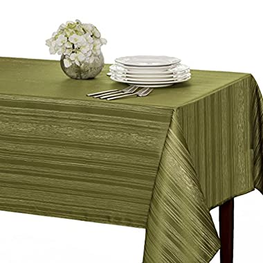 Benson Mills Flow  Spillproof  Fabric Tablecloth, 60X104 Inch, Sage