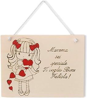 Targa regalo festa della mamma o compleanno in legno personalizzabile tema bambina con cuori