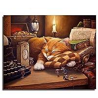 数字キットによるペイント、Diy手描き数字によるペイントデジタル油絵キットかわいい漫画動物猫とマウスリビングルームの家の装飾のための現代の抽象的な壁アート写真