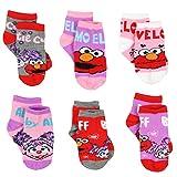 Sesame Street 6 pack Girls Quarter Socks (6 pk Elmo Abby, Shoe Size: 7-10 (Sock: 4-6)