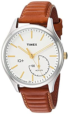 Timex Men's TW2P94700 IQ+ Move Activity Tracker Caramel Brown Leather Strap Smartwatch from Timex