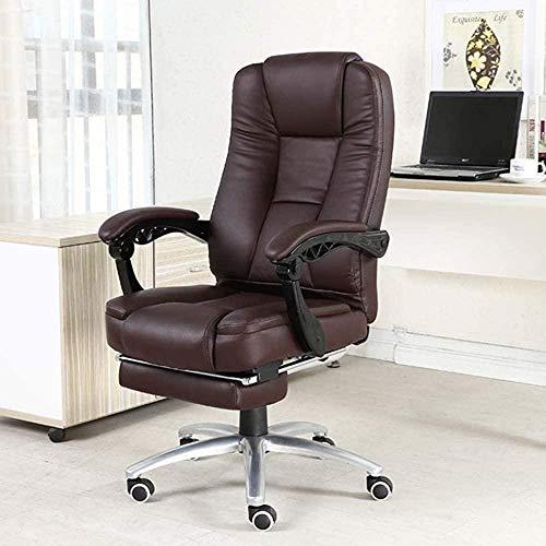 Adult Gaming Chair Bürostuhl Schreibtischstuhl Ergonomischer Sessel mit Fußpolstern Rückenlehne und Sitzhöhenverstellung Spielstuhl Home Youth Game Computerstuhl (Farbe: Weiß)-Braun iteratio