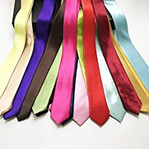 5cm Width Solid Color Fashion Narrow Ties Polyester Skinny Slender Neckties for Adult School Children Party