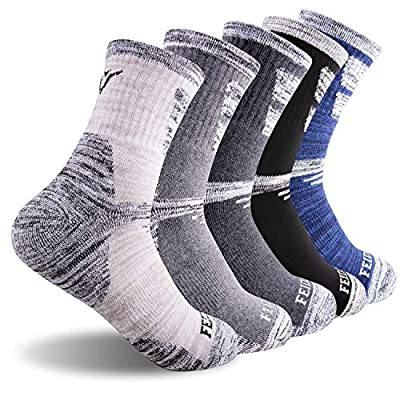 Hiking Socks Walking Socks For Men, FEIDEER 5-pack Outdoor Recreation Socks Moisture Wicking Crew Socks?19105-L)