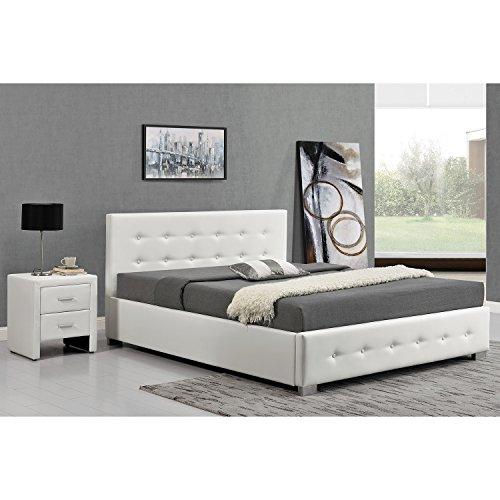JFB L'Azenor: Structure de lit Blanc avec Coffre de Rangement...